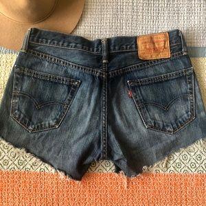 Levis 505 dark blue denim shorts
